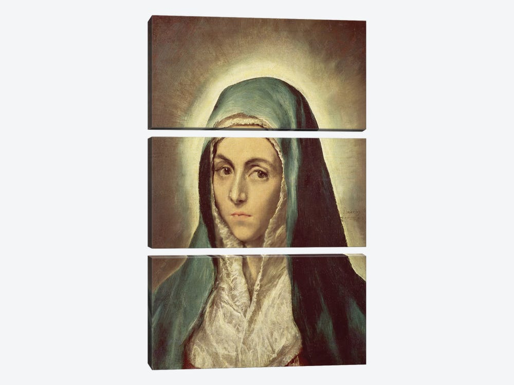 The Virgin Mourning (Musee des Beaux-Arts de Strasbourg) by El Greco 3-piece Canvas Artwork