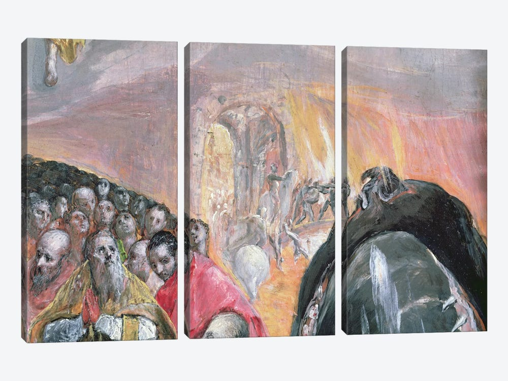 The Walk To Purgatory Detail, The Adoration Of The Name Of Jesus, c.1578 by El Greco 3-piece Canvas Art Print
