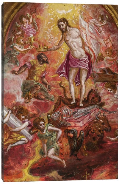 Top Two-Thirds, Allegory Of The Christian Knight (Front Side Of Central Panel From El Greco's Portable Altar) Canvas Print #BMN6269