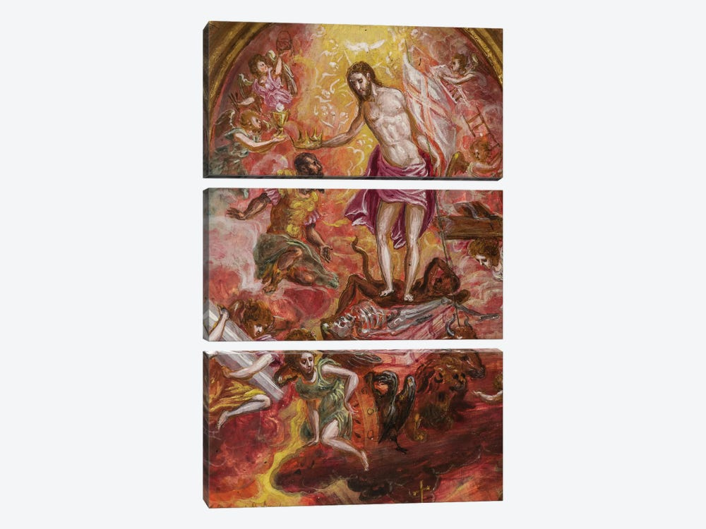 Top Two-Thirds, Allegory Of The Christian Knight (Front Side Of Central Panel From El Greco's Portable Altar) by El Greco 3-piece Art Print