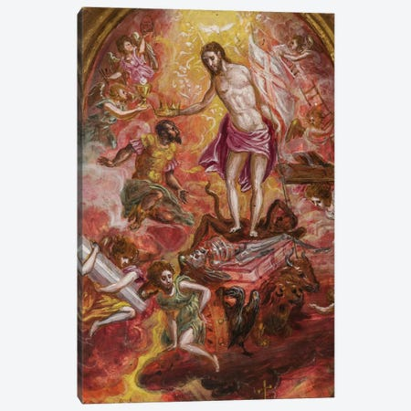 Top Two-Thirds, Allegory Of The Christian Knight (Front Side Of Central Panel From El Greco's Portable Altar) Canvas Print #BMN6269} by El Greco Canvas Print