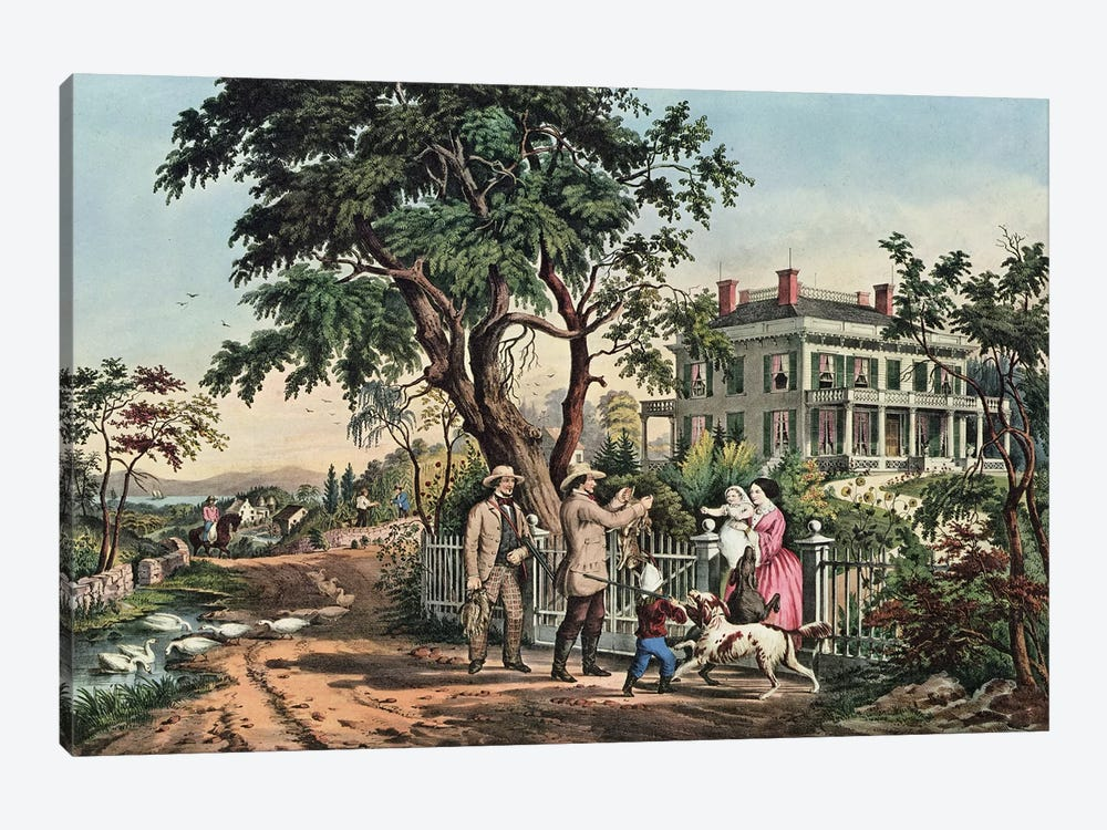 American Country Life - October Afternoon, 1855  by N. Currier 1-piece Art Print