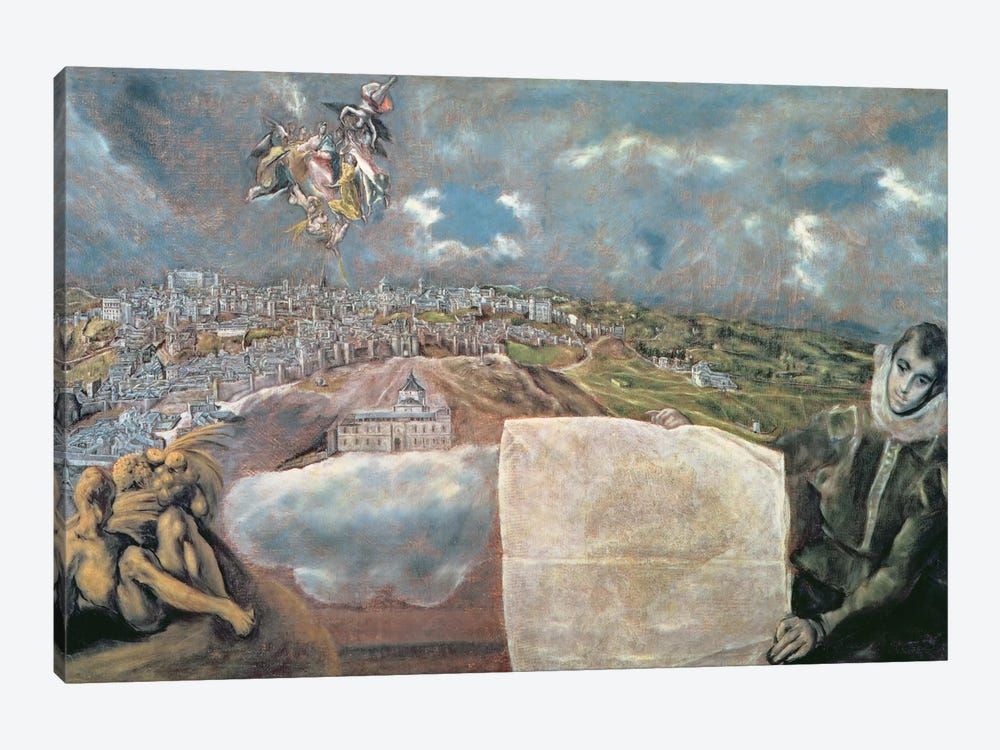 View And Map Of The Town Of Toledo, Spain by El Greco 1-piece Art Print