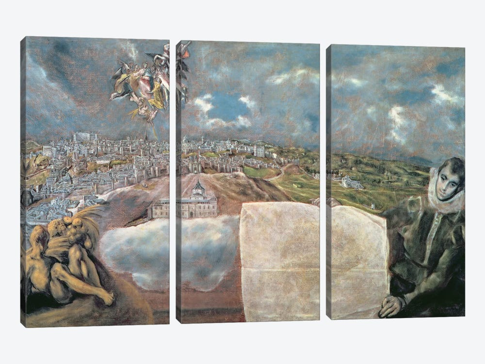 View And Map Of The Town Of Toledo, Spain by El Greco 3-piece Canvas Art Print
