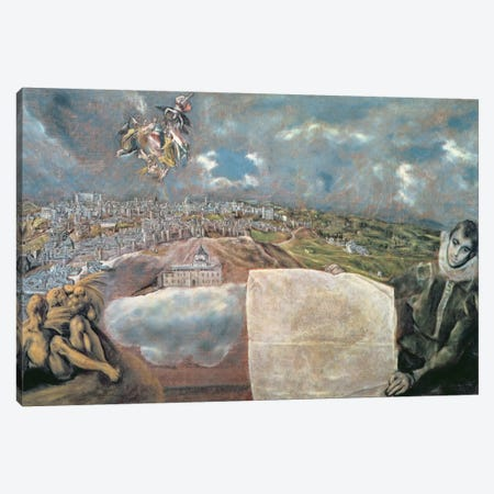 View And Map Of The Town Of Toledo, Spain Canvas Print #BMN6270} by El Greco Canvas Artwork