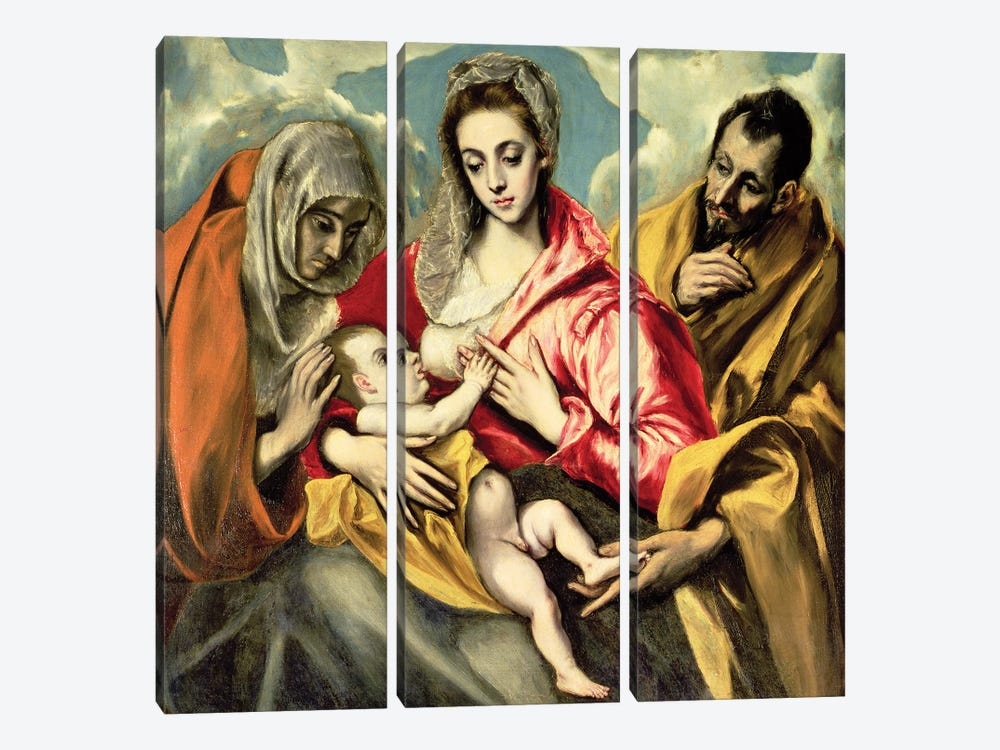 Virgin And Child With St. Anne And St. Joseph, 1587-96 (Hospital de Tavera) by El Greco 3-piece Canvas Print