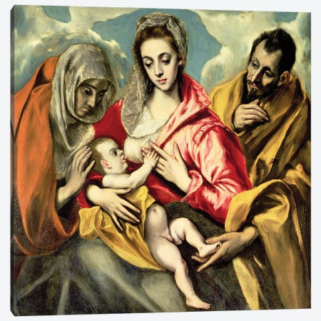Virgin And Child With St. Anne And St. Joseph, 1587-96 (Hospital de Tavera) Canvas Print #BMN6272} by El Greco Canvas Artwork