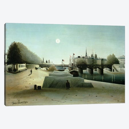 A View Of the Ile Saint-Louis From Port Saint-Nicolas, Evening, c.1888 Canvas Print #BMN6274} by Henri Rousseau Canvas Print