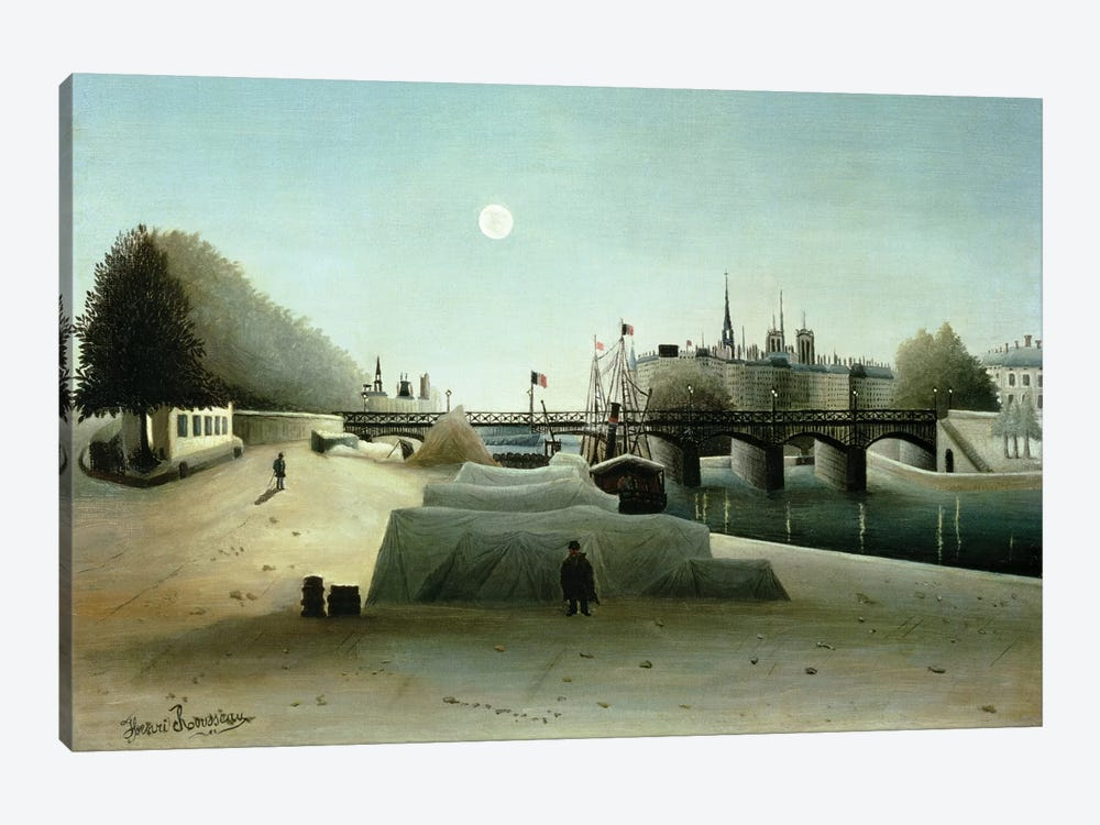 A View Of the Ile Saint-Louis From Port Saint-Nicolas, Evening, c.1888 by Henri Rousseau 1-piece Canvas Print