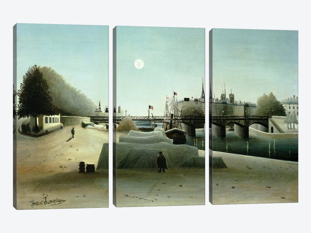 A View Of the Ile Saint-Louis From Port Saint-Nicolas, Evening, c.1888 by Henri Rousseau 3-piece Canvas Print