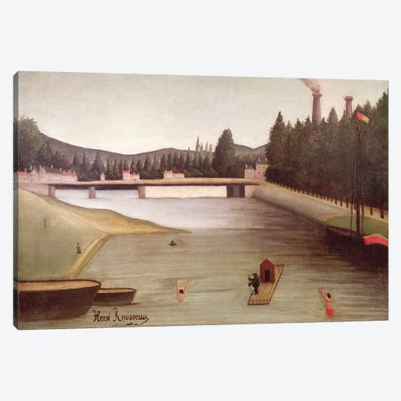 Bathing At Alfortville Canvas Print #BMN6277} by Henri Rousseau Canvas Print