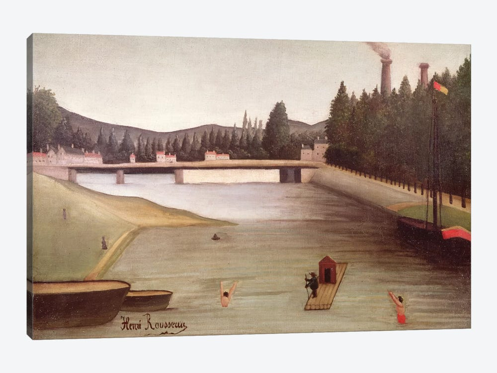 Bathing At Alfortville by Henri Rousseau 1-piece Canvas Art