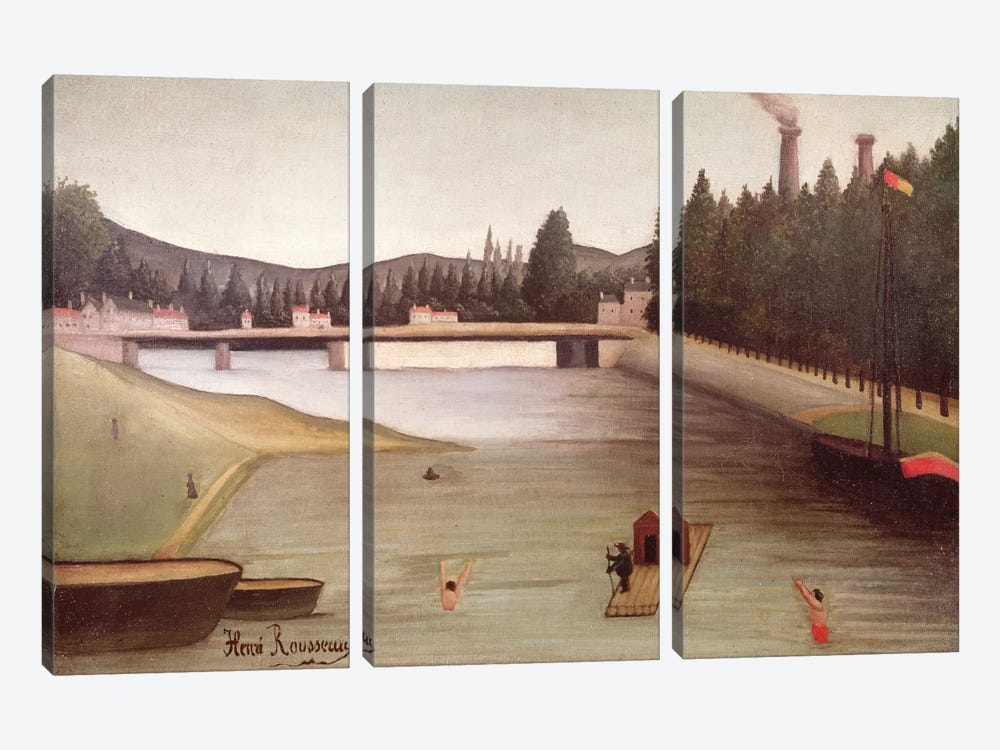 Bathing At Alfortville by Henri Rousseau 3-piece Canvas Artwork