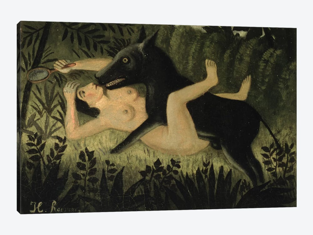 Beauty And The Beast, c.1908 by Henri Rousseau 1-piece Canvas Print
