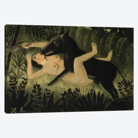 Beauty And The Beast, c.1908 Canvas Print #BMN6278} by Henri Rousseau Canvas Artwork