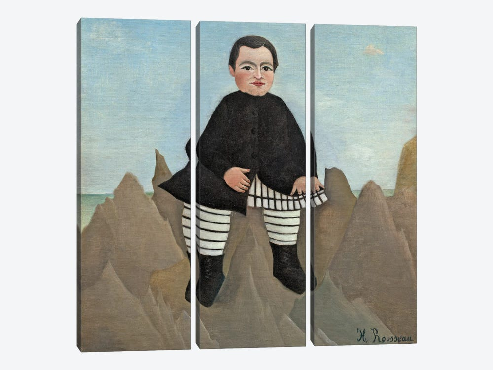 Boy On The Rocks, 1895-97 by Henri Rousseau 3-piece Canvas Artwork