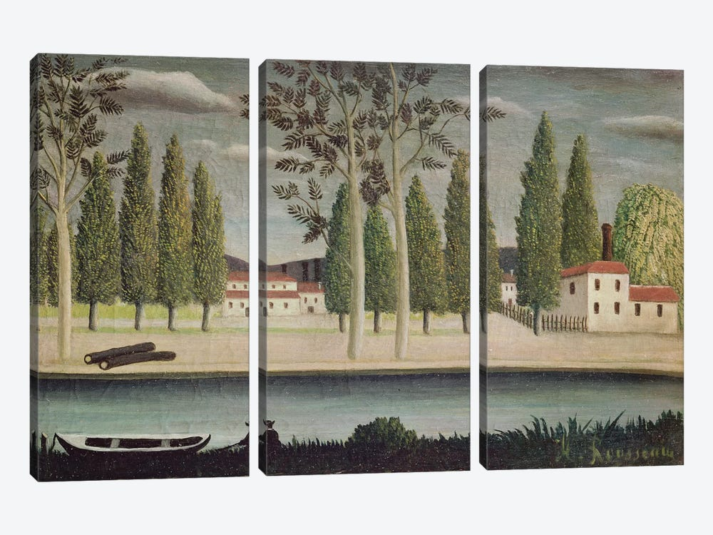 By The River, c.1890 by Henri Rousseau 3-piece Canvas Artwork