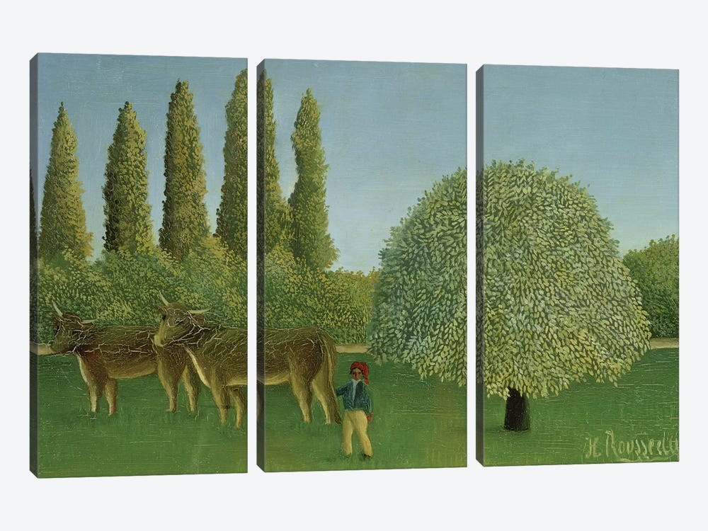 In The Fields, 1910 by Henri Rousseau 3-piece Canvas Print
