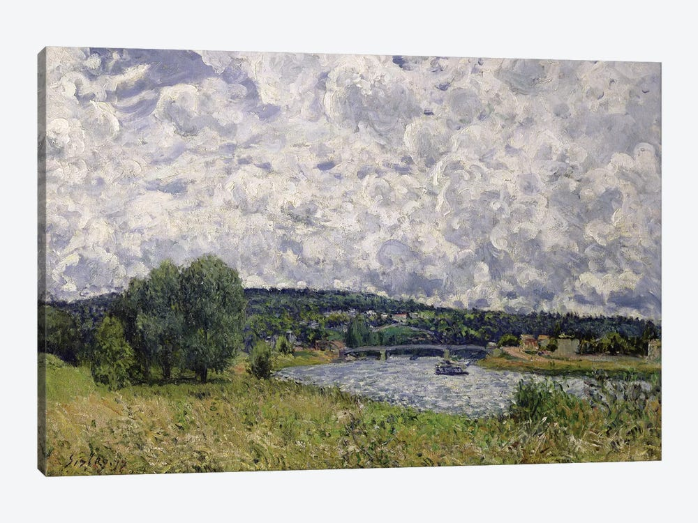 The Seine at Suresnes, 1877  by Alfred Sisley 1-piece Canvas Print
