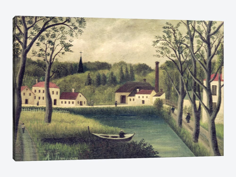 Landscape With A Fisherman, after 1886 by Henri Rousseau 1-piece Canvas Art Print
