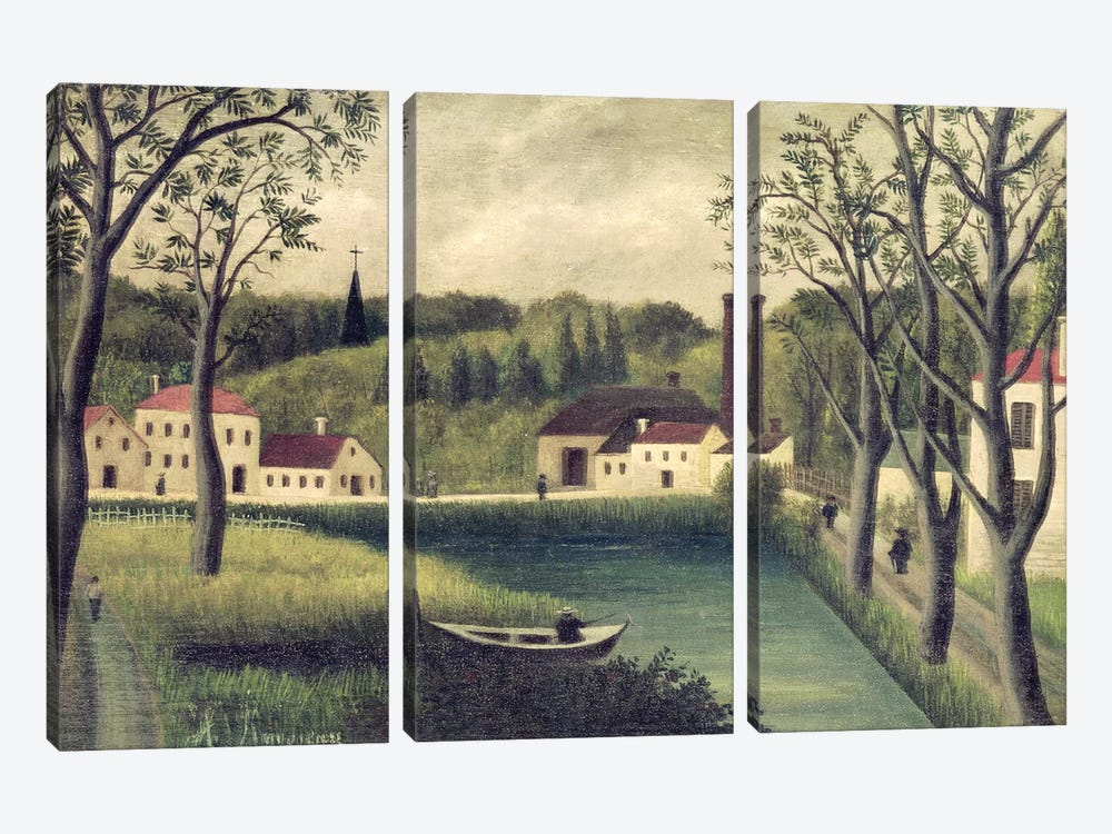 Landscape With A Fisherman, after 1886 by Henri Rousseau 3-piece Canvas Print