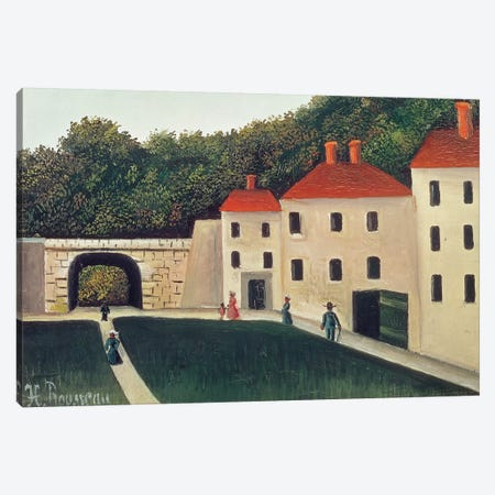Landscape With An Arch And Three Houses, 1907 Canvas Print #BMN6291} by Henri Rousseau Canvas Artwork