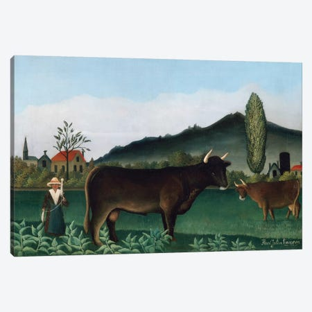 Landscape With Cow, 1886 Canvas Print #BMN6292} by Henri Rousseau Canvas Art