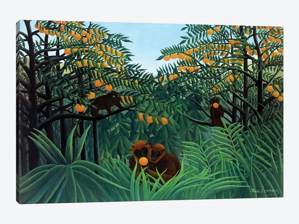 Monkeys In The Jungle, 1910 by Henri Rousseau 1-piece Canvas Art