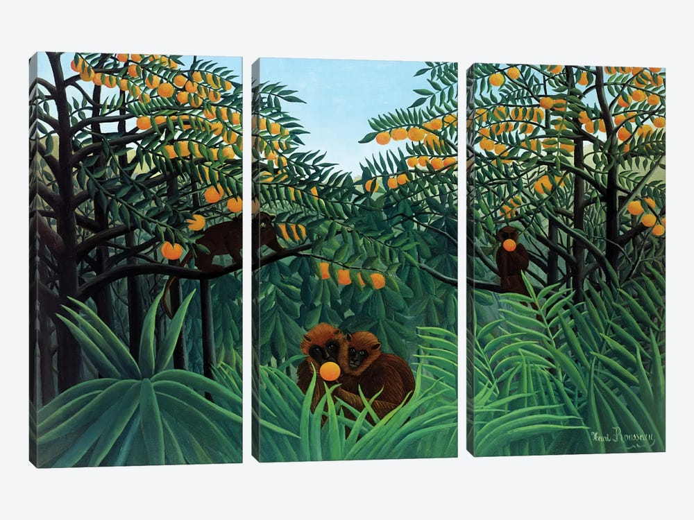 Monkeys In The Jungle, 1910 by Henri Rousseau 3-piece Canvas Art