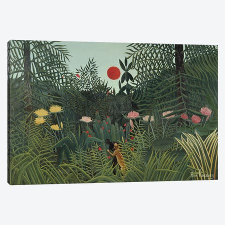 Attacked By A Jaguar (Jungle Sunset), 1910 Canvas Print #BMN6298} by Henri Rousseau Canvas Art