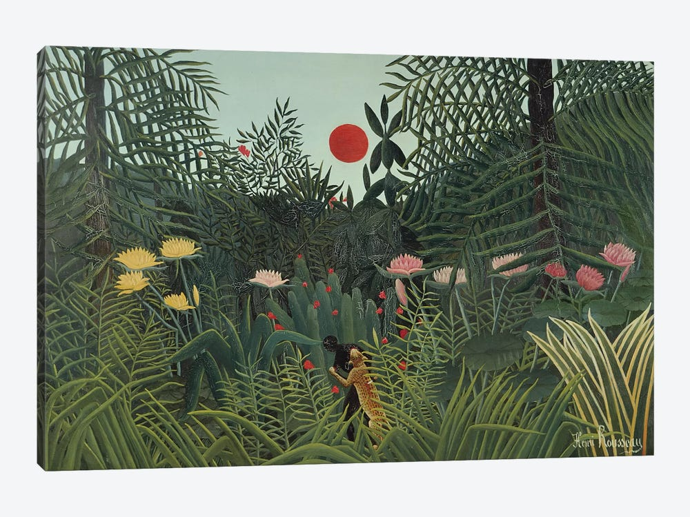 Attacked By A Jaguar (Jungle Sunset), 1910 by Henri Rousseau 1-piece Canvas Art Print