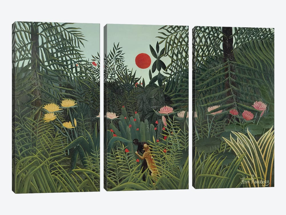 Attacked By A Jaguar (Jungle Sunset), 1910 by Henri Rousseau 3-piece Canvas Art Print
