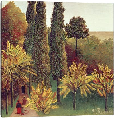 Path In The Buttes Chaumont Park, Paris, 1908 Canvas Art Print