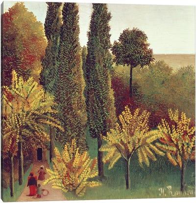 Path In The Buttes Chaumont Park, Paris, 1908 Canvas Art Print