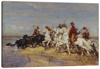 Rounding Up The Cattle Canvas Art Print