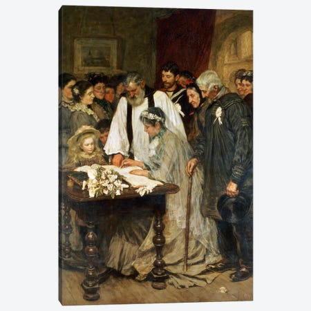 Signing the Marriage Register, 1896 Canvas Print #BMN630} by James Charles Art Print