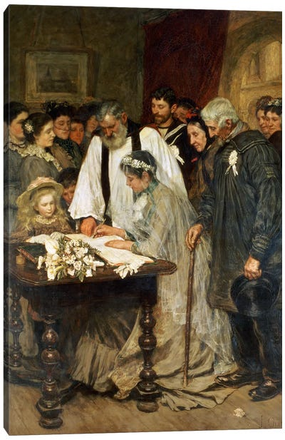 Signing the Marriage Register, 1896 Canvas Art Print