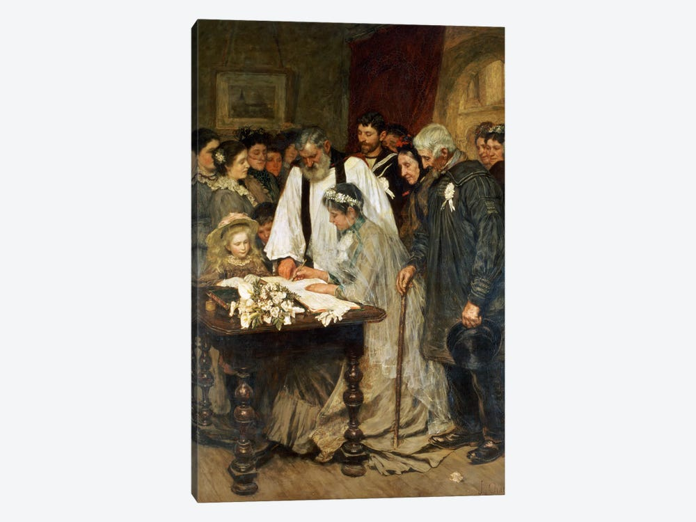 Signing the Marriage Register, 1896 by James Charles 1-piece Canvas Artwork
