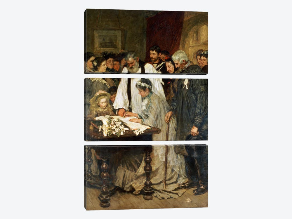 Signing the Marriage Register, 1896 by James Charles 3-piece Canvas Art