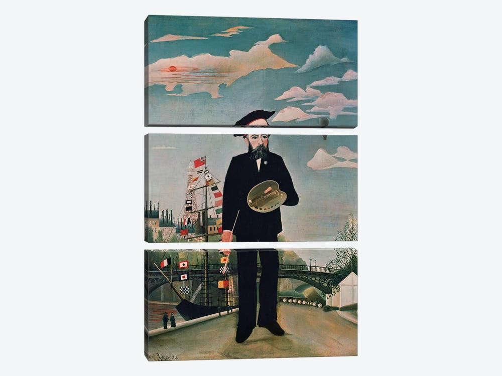 Self Portrait, from Ile Saint-Louis, 1890 by Henri Rousseau 3-piece Art Print
