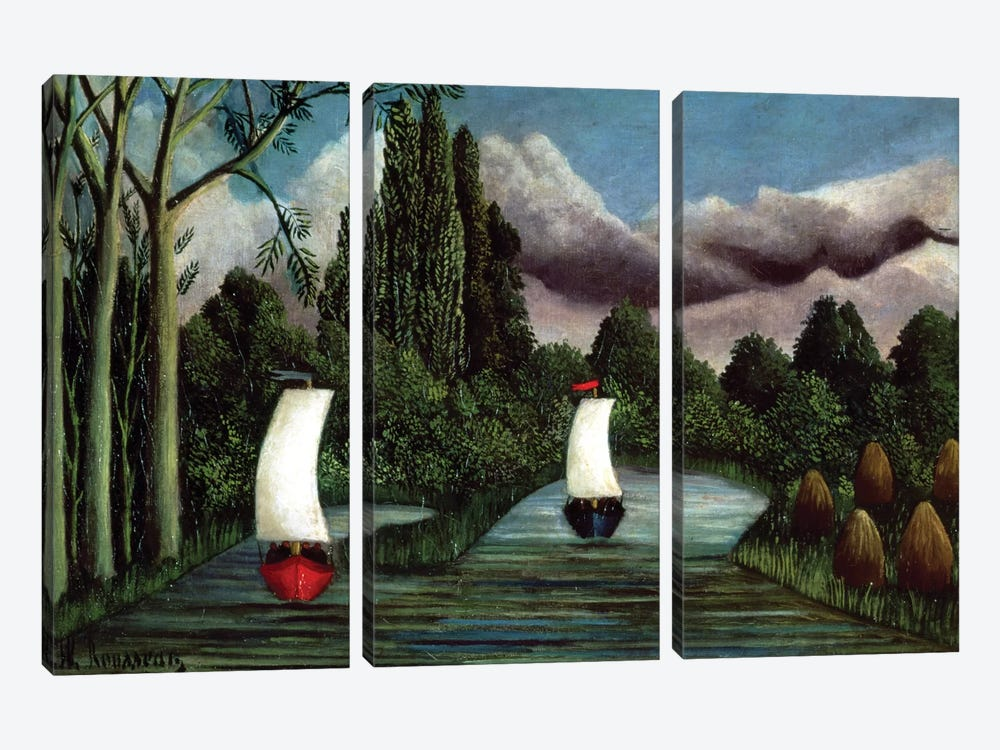 The Banks Of The Oise, 1905 by Henri Rousseau 3-piece Canvas Artwork