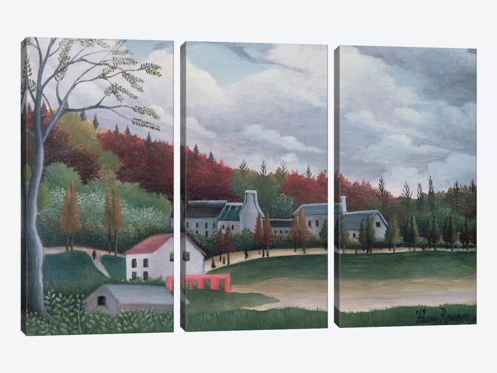 The Bievre At Gentily, c.1895 by Henri Rousseau 3-piece Canvas Art Print