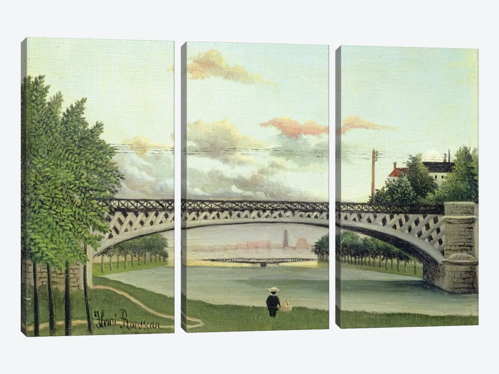 The Brdige At Charenton, France by Henri Rousseau 3-piece Canvas Wall Art