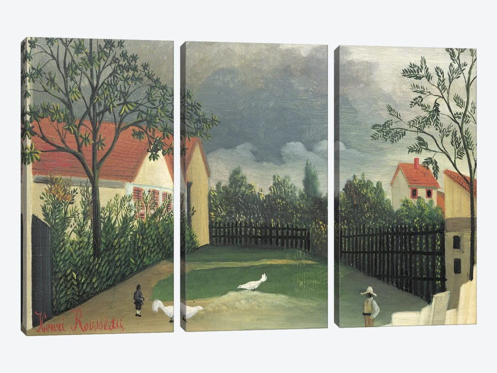 The Farm Yard, 1896-98 by Henri Rousseau 3-piece Canvas Print
