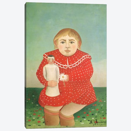The Girl With A Doll, c.1892 Canvas Print #BMN6322} by Henri Rousseau Canvas Art