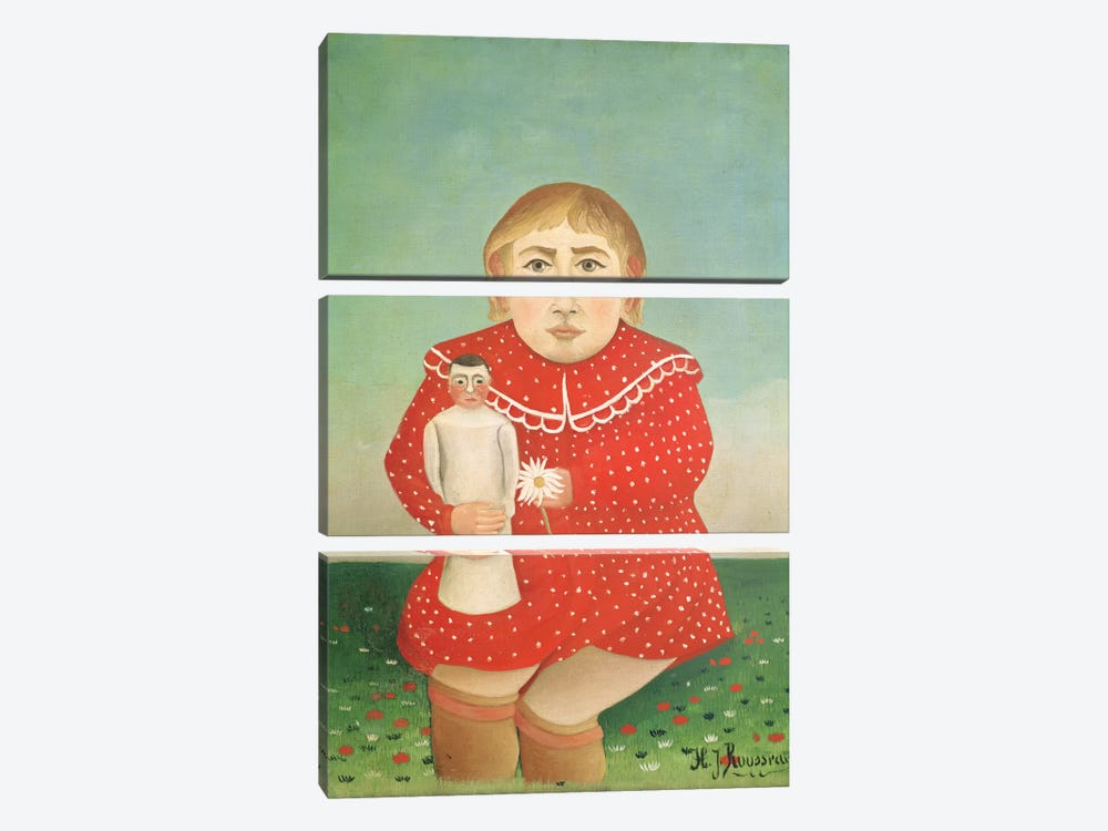 The Girl With A Doll, c.1892 by Henri Rousseau 3-piece Canvas Art Print