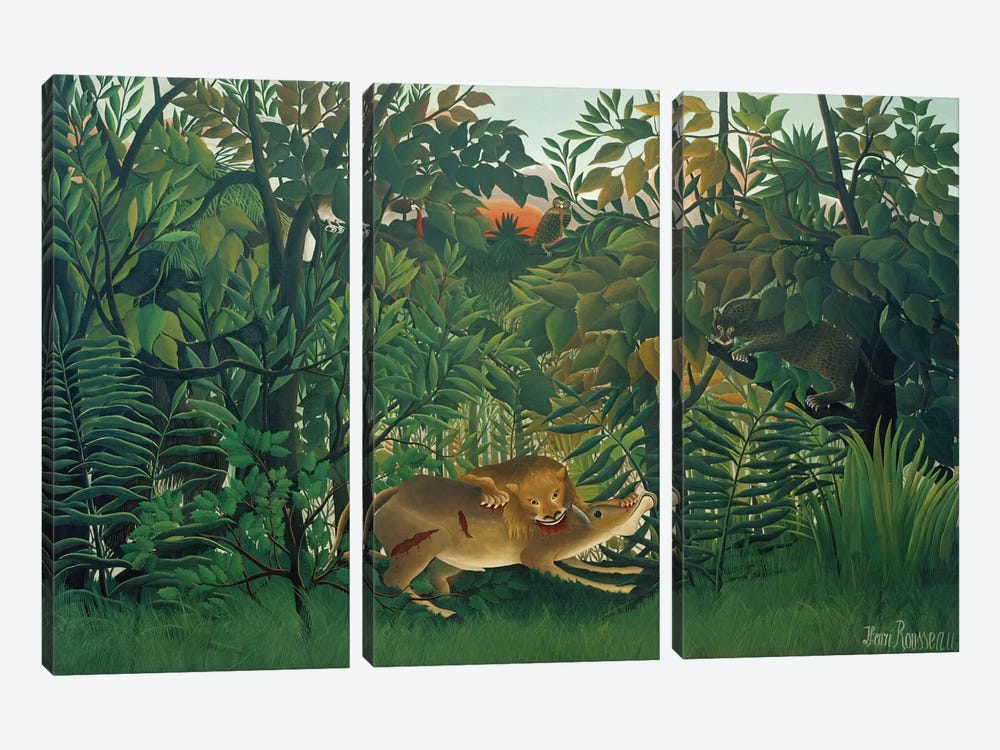 The Hungry Lion, 1905 by Henri Rousseau 3-piece Art Print