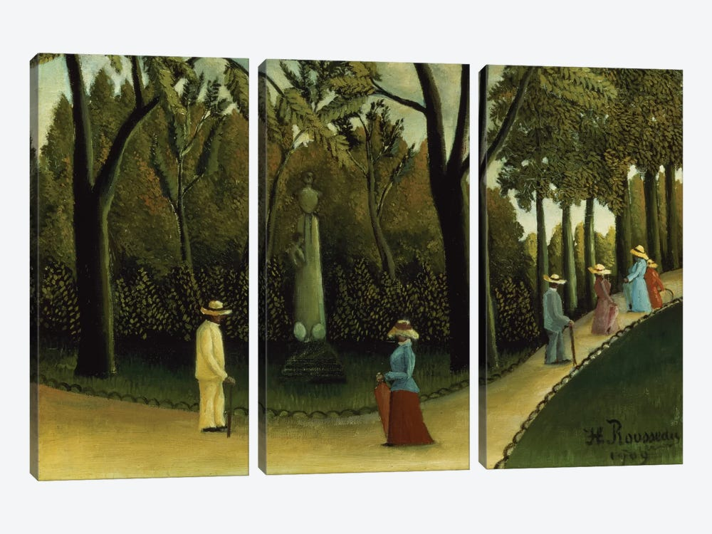 The Monument To Chopin In The Luxembourg Gardens, 1909 by Henri Rousseau 3-piece Canvas Print
