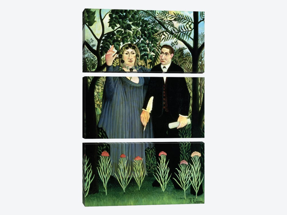 The Muse Inspiring The Poet, 1908-09 (Pushkin Museum) by Henri Rousseau 3-piece Canvas Artwork