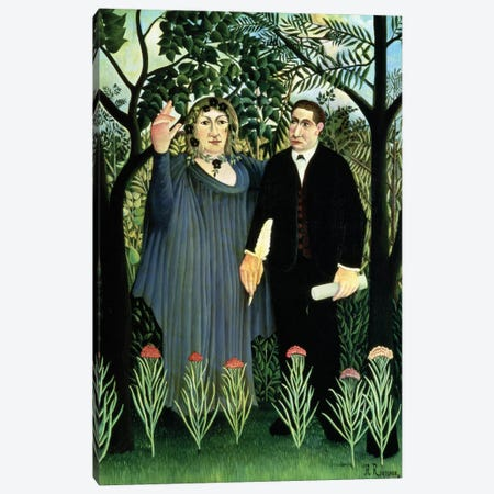 The Muse Inspiring The Poet, 1908-09 (Pushkin Museum) Canvas Print #BMN6327} by Henri Rousseau Canvas Print